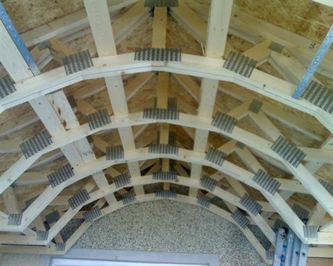 Fforest timber engineering curved roof truss design for Barrel roof trusses